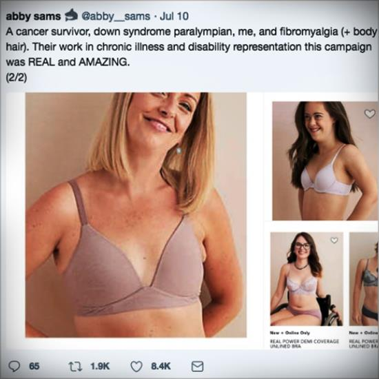 Social media post of an Aerie inclusive ad