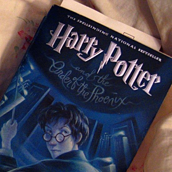 Blue Harry Potter book lying on an off-white flowered sheet