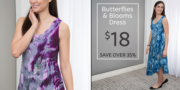 Butterflies and Blooms Long Dress