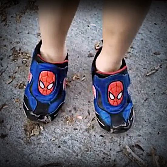 Childs Spiderman shoes on wrong feet