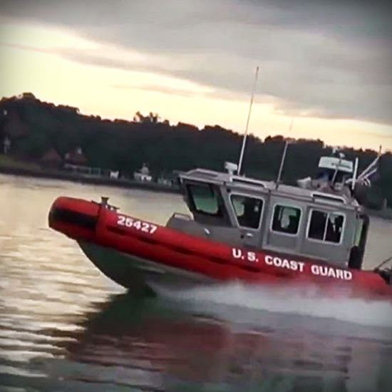 Bright red Coast Guard Boat