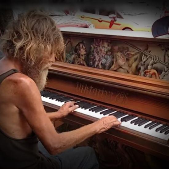 Homeless vet at public piano
