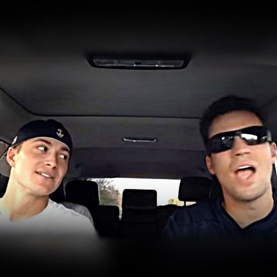 Couple of Navy baseball players in a car