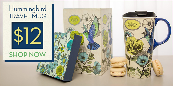 Fluttering Hummingbird Gift Boxed Travel Mug