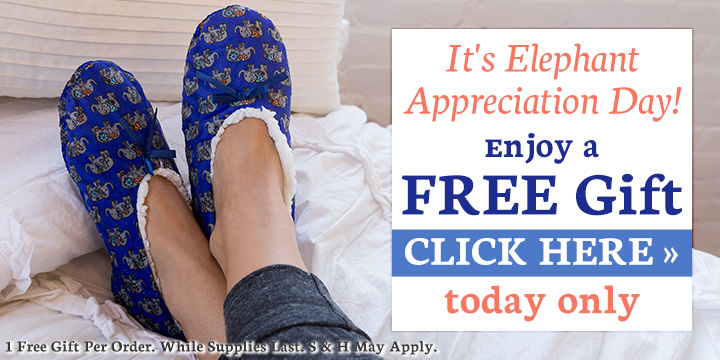 Free Elephant Slippers for Elephant Appreciation Day