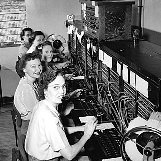 Black and white photo of phone operators