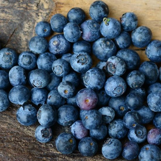 Delicious looking ripe blueberries on wood table