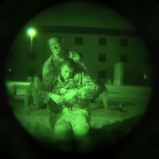 Training viewed through night vision goggles