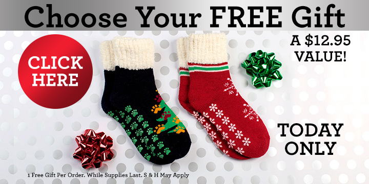 Choose your FREE Holiday Slipper Socks!