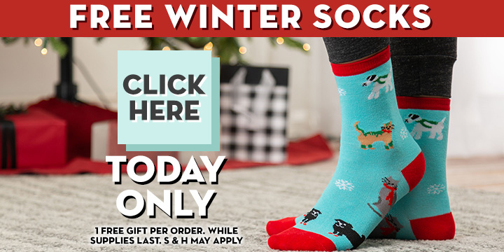 Choose your FREE Novelty Winter Socks!