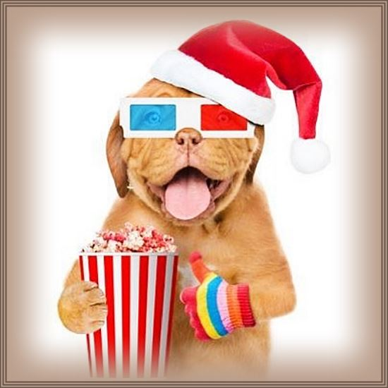 Boxer with photoshopped 3-d glasses and popcorn