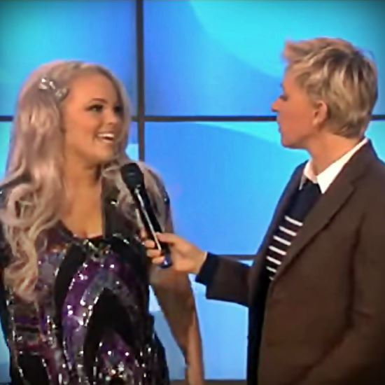 A young blond woman talks to Ellen