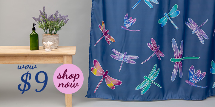 Fluttering Beauty Dragonfly Shower Curtain