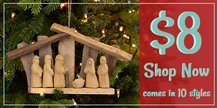 Recycled Driftwood Nativity Ornament