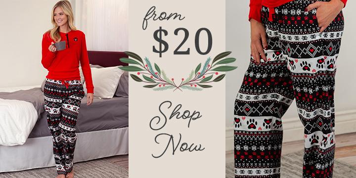 Snowflakes & Paws Flannel Pajamas Set