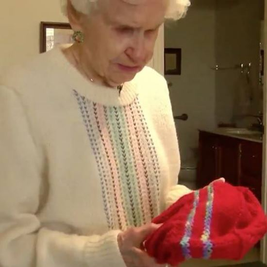 Elderly woman with knit hat