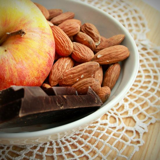 Bowl with magnesium-rich chocolate and nuts