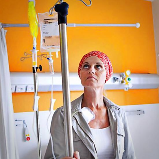 Cancer patient glaring at IV