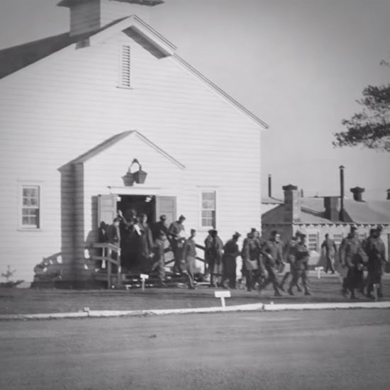 Soldiers coming out of church