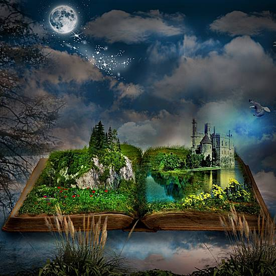 Book opening to magical scene