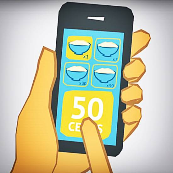 Cartoon of app on phone