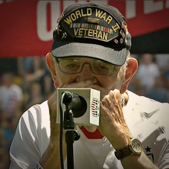 96-year-old veteran and his harmonica
