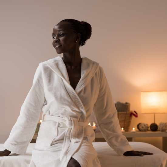 Woman in a spa bathrobe
