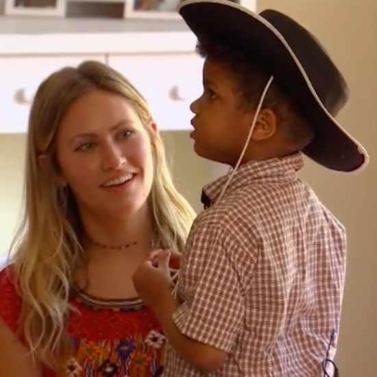Boy with cowboy hat on