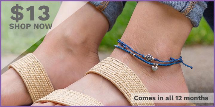 Paw Print Birthstone Anklet Set