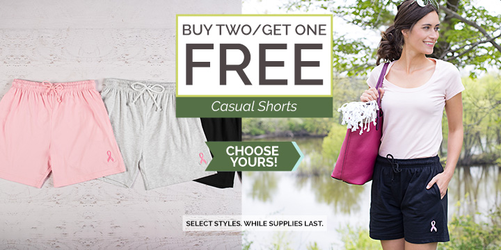 Pink Ribbon Women's Casual Shorts - Buy two, get one free!