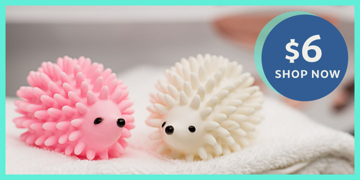 Hedgehog Pink and White Dryer Balls Set