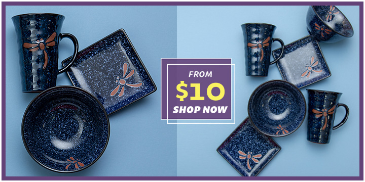 Midnight Dragonfly Dish Set