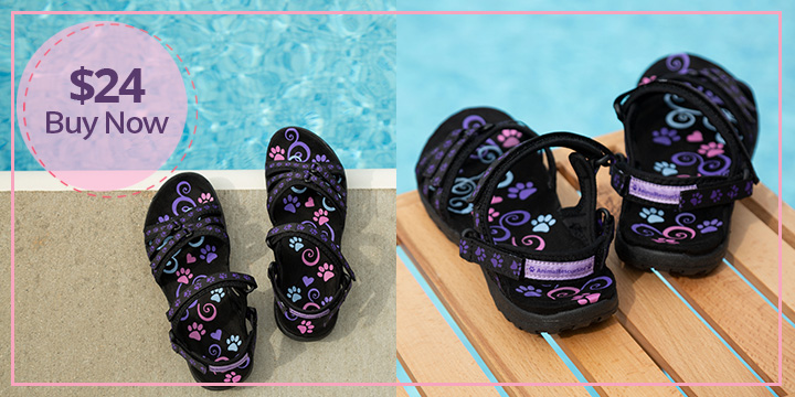 Ultralite™ Purple Paw Strappy Sport Sandals
