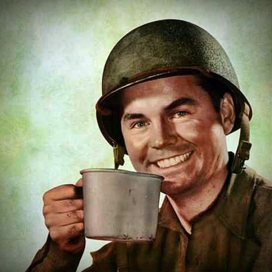 Army poster with soldier holding coffee