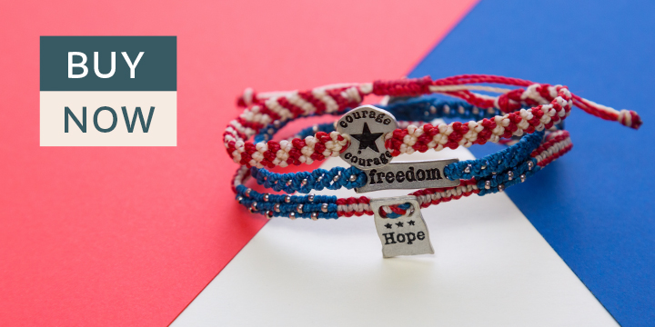 Courage, Hope, & Freedom Woven Bracelets - Set of 3