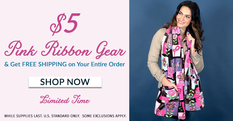 $5 Pink Ribbon Gear & FREE Shipping!