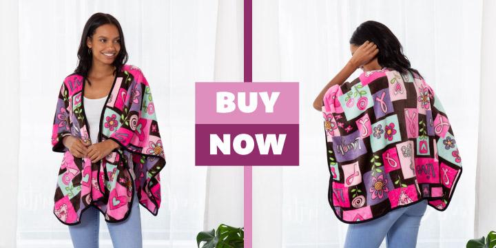 Super Cozy™ Fleece Pink Ribbon Love Pocket Shawl
