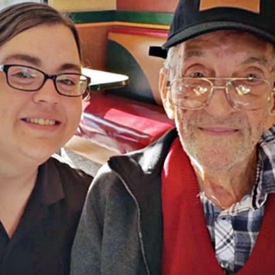 Arbys worker with elderly veteran