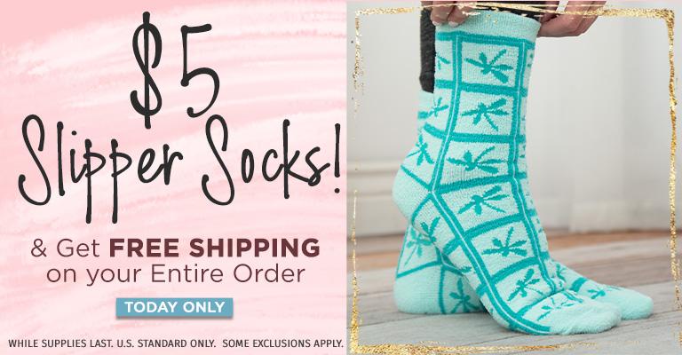 $5 Slipper Socks & FREE Shipping!