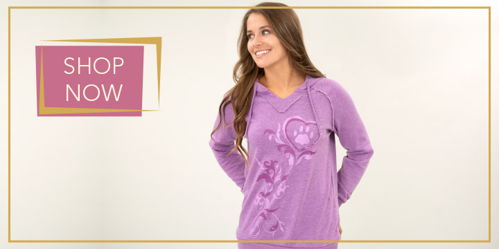 Purple Paw Burnout Pullover Hoodie