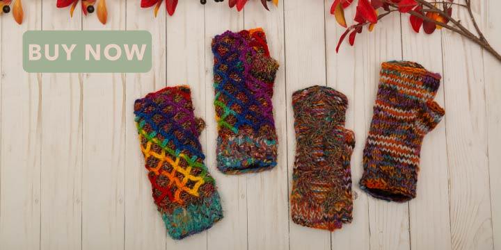 Recycled Silk Fingerless Gloves