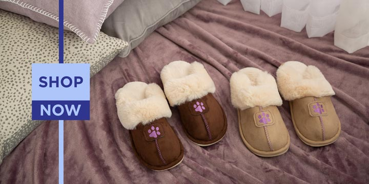 Paw Print Faux Fur Slide Slippers