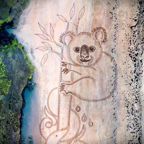 Koala sand drawing