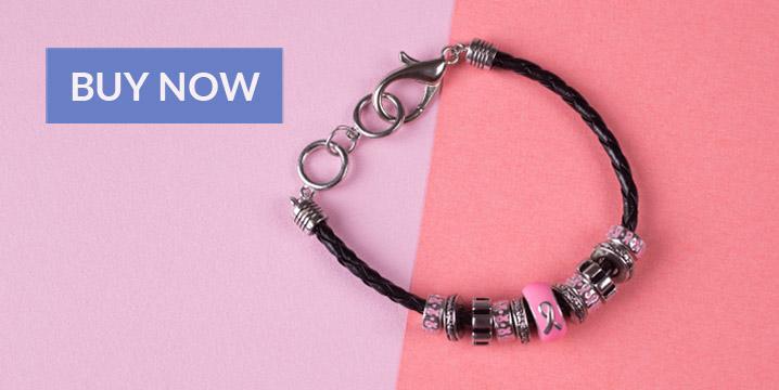 Pink Ribbon Carousel Bead Bracelet