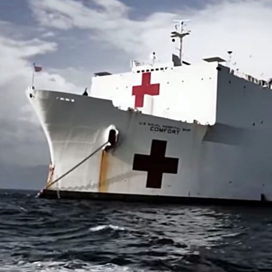 Navy medical ship on the sea