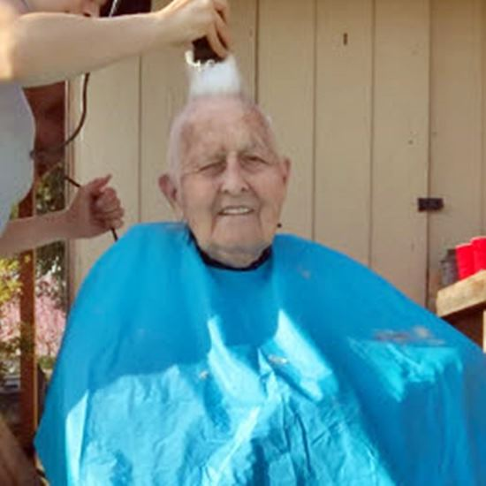 Veteran getting a mohawk