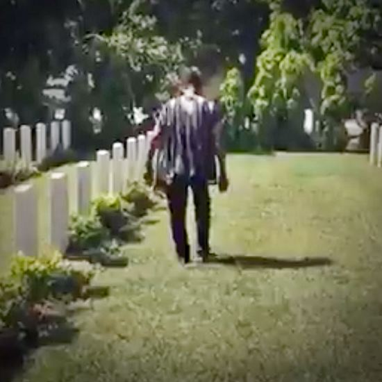 Man walking in a cemetary