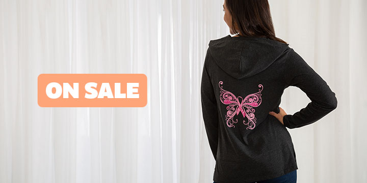 Pink Ribbon Butterfly Lightweight Hooded Tunic