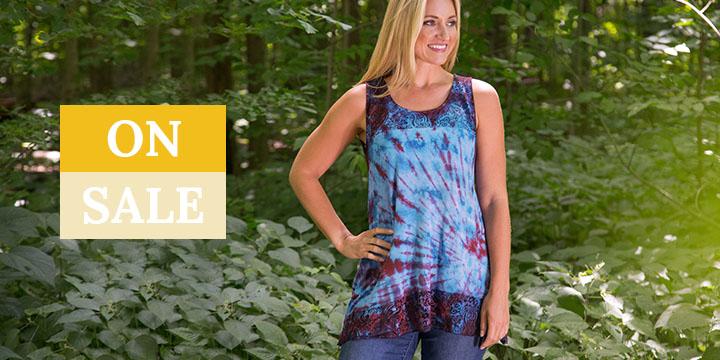 Tie-Dye Lace Sleeveless Tunic
