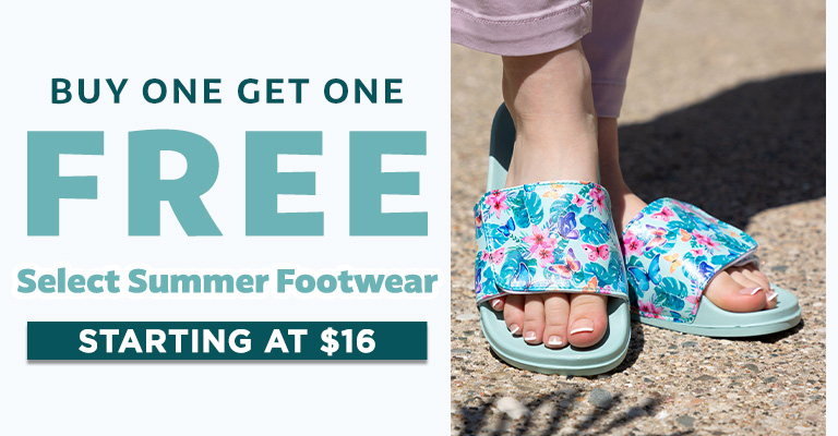 Select Summer Footwear - Buy One, Get One FREE!